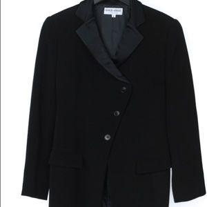 Giorgio Armani Black Crepe Satin Lapel Pant Suit 6